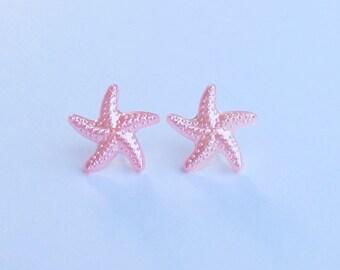 Pink Star Fish Earrings