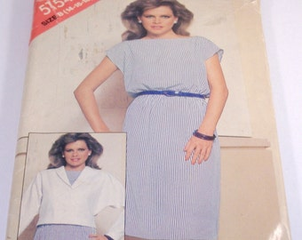 Uncut Vintage Butterick See and Sew Pattern No 5154 Misses Jacket and Dress - Size B (14, 16, 18)