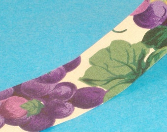 Purple Grapes and Vines on Ivory Fabric Ribbon - 35mm Wide - BTY - from Designer Dispatch - Destash