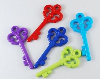 Bulk Key Pendants Acrylic Assorted Colors 62mm Wholesale Key Pendants 100 pieces