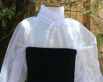 Renaissance Woman's Partlet Sheer Elizabethan Blouse Open Front