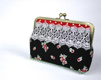 Lace print Clutch -  Clutch Purse -  Evening Bag - Frame Clutch