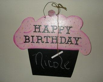 Large Happy Birthday Chalkboard Cupcake