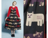Vintage Michaele Vollbrach Suspender Maxi Jumper Cat Dress OS