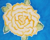 Yellow Rose over Water 7 3/4 X 7 3/4 Canvas Painting