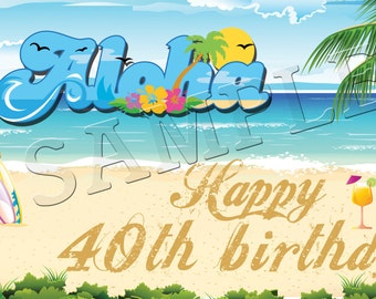 Aloha Luau Banner - Personalized Large 2x4 Custom Banner Party Decoration