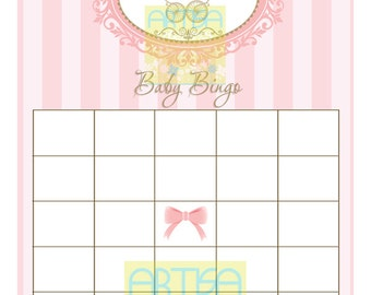 Bingo Baby Pink Gold Vintage Stroller Baby Shower - Baby Bingo Vintage Baby Carriage - Pink and gold baby bingo vintage carriage