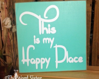 """Beach House Decor, Happy Sign, Housewarming Gift """"This is my Happy Place"""" 10""""x10"""" Wooden Sign, Lake House Decor, Wall Decor Quotes"""
