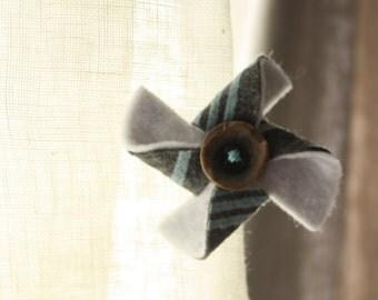 Grey/Blue/White Felt Pinwheel Hair Clip