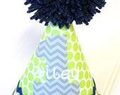 LimeGreen and Navy Birthday Hat- Personalization Included