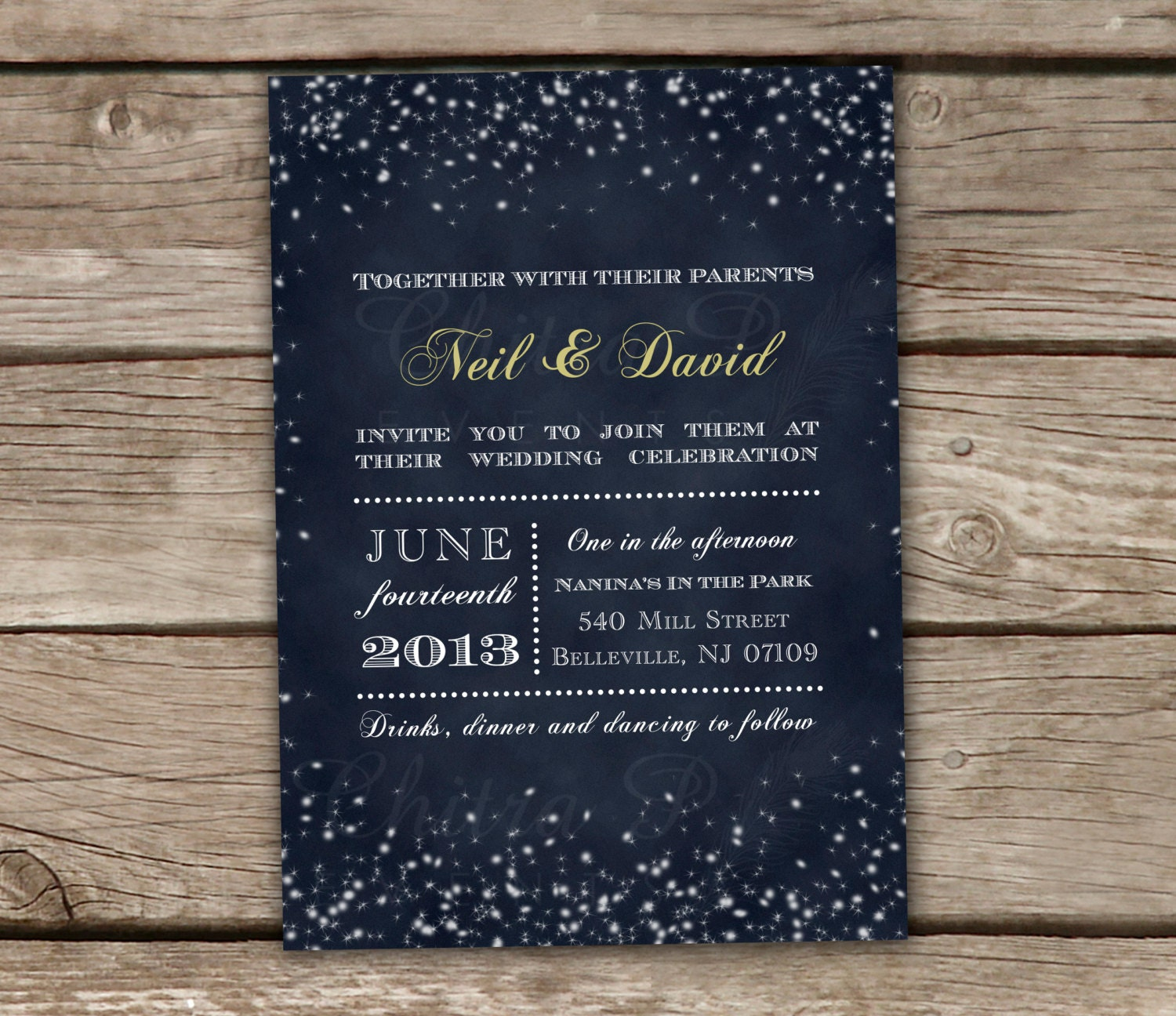 Starry Night Wedding Invitations Printed Or Printable By