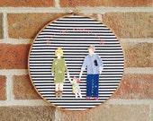 Custom Embroidery Hoop Family Portrait