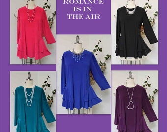 Adorable and Romantic Plus Size Tunic Top XL/1XL AND 2XL/3XL, Travler, Lagenlook, Boho, Country