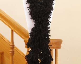 Blow out Sale! Crocheted Black soft spiky scarf