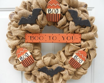Halloween Burlap wreath with Wood Ornaments BOO TO YOU and so cute!