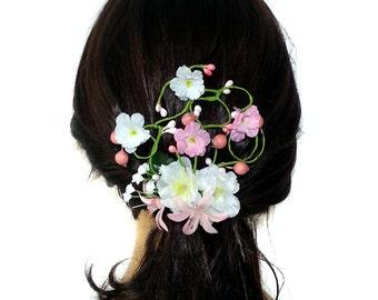 Pink Bridal Flower hair accessories, Wedding flowers headpiece, Pink and White Bridal Flower Hairpiece, Spring Wedding Bridal HairClip