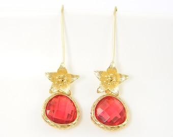 Long Drop Earrings Gold, Coral Drop Earrings, Lily Earrings, Gold Flower Earrings, Faceted Stone Gold Dangle Earrings  CJ1-9