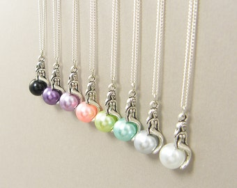 Silver Mermaid Necklace, Single Pearl Necklace, Pink Purple Aqua Green Gray White Black - Your Choice |CC