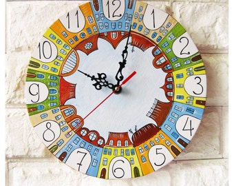 The City of Yecho Wall Clock, white home decor, kids gift, for Office, Dad Gift, Gift to our Father, Dad Appreciation Gift, Fathers Day Gift
