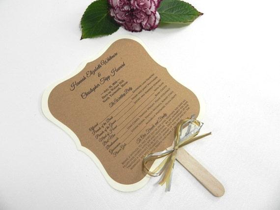 DIY KIT Ornate Square Rustic Wedding Program Fan Style
