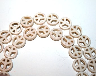 10 mm White Peace Sign Gemstone Beads
