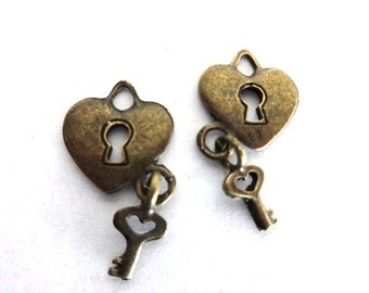 6 Antique Bronze 3D Heart and Key Charms/Pendants