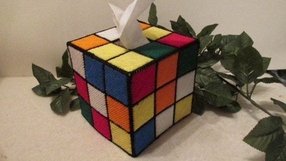 rubiks cube tissue cover geek home decor by. Black Bedroom Furniture Sets. Home Design Ideas