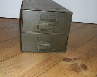 Vintage Metal Double File Box