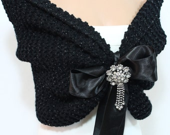 Black Wedding Shawl, Bridal Shawl, Bridal Wedding Stole, Black Shawl, Hand Knit Shawl, Black Capelet, Wedding Capelet, Bridesmaid Shawl