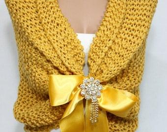 Gold Mustard Wedding Shawl, Bridal Shawl, Bridal Wedding Stole, Gold Shawl, Hand Knit Shawl, Gold Capelet, Wedding Capelet, Bridesmaid Shawl