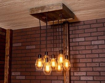 Industrial lighting, Industrial Chandelier, Nickel With Reclaimed Wood and 7 Pendants. R-1818-NC-7