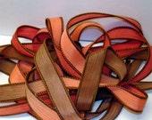 "Peach Cobbler 42"" hand dyed wrist wrap bracelet silk ribbon//Yoga wrist wrap bracelet ribbon//Silk wrist wrap ribbon// By Color Kissed Silk"