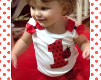 Baby Girl 1st Birthday Lady Bug Tutu Set Red and Black Great for Photo Props Parties