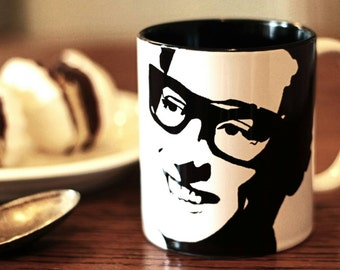 Buddy Holly, Hand Painted, Hand Printed Cup