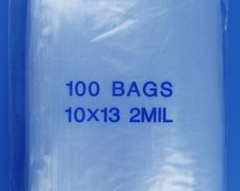 100 10x13 2Mil Clear ZipLock Poly Bags