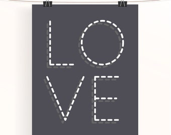 Love poster - monochrome nursery art - typography poster - gray love print - nursery print - black and white - wedding print