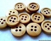 15mm Plain Wood Buttons Cream Colour Pack of 25 Cream Buttons W1501