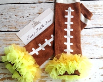 Football Leg Warmers with Gold and Neon Yellow Ruffles, Football Leg Warmers, Baby Leg Warmers, Brown Leg warmers with Ruffle