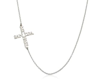 Sideways name cross necklace - personalized with names -  sterling silver Name necklace
