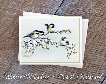 Wildlife Note Cards - Chickadee Note Cards - Chickadees - Wild Bird Prints - Chickadee Note Cards - Chickadee Stationary