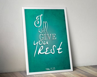 Matthew 11:28 Teal Bible Verse Retro Vintage Typography Poster 20x30 I will give you rest