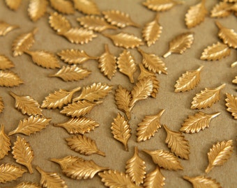 30 pc. Tiny Raw Brass Feathered Leaves: 13mm by 5mm - made in USA | RB-299