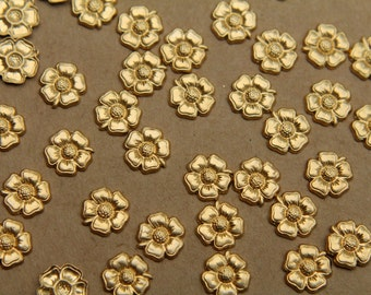 14 pc. Small Raw Brass Five Petal Flower: 9mm - made in USA | RB-342
