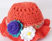 Toddler Easter Hat with Detachable Flowered Headband Crocheted