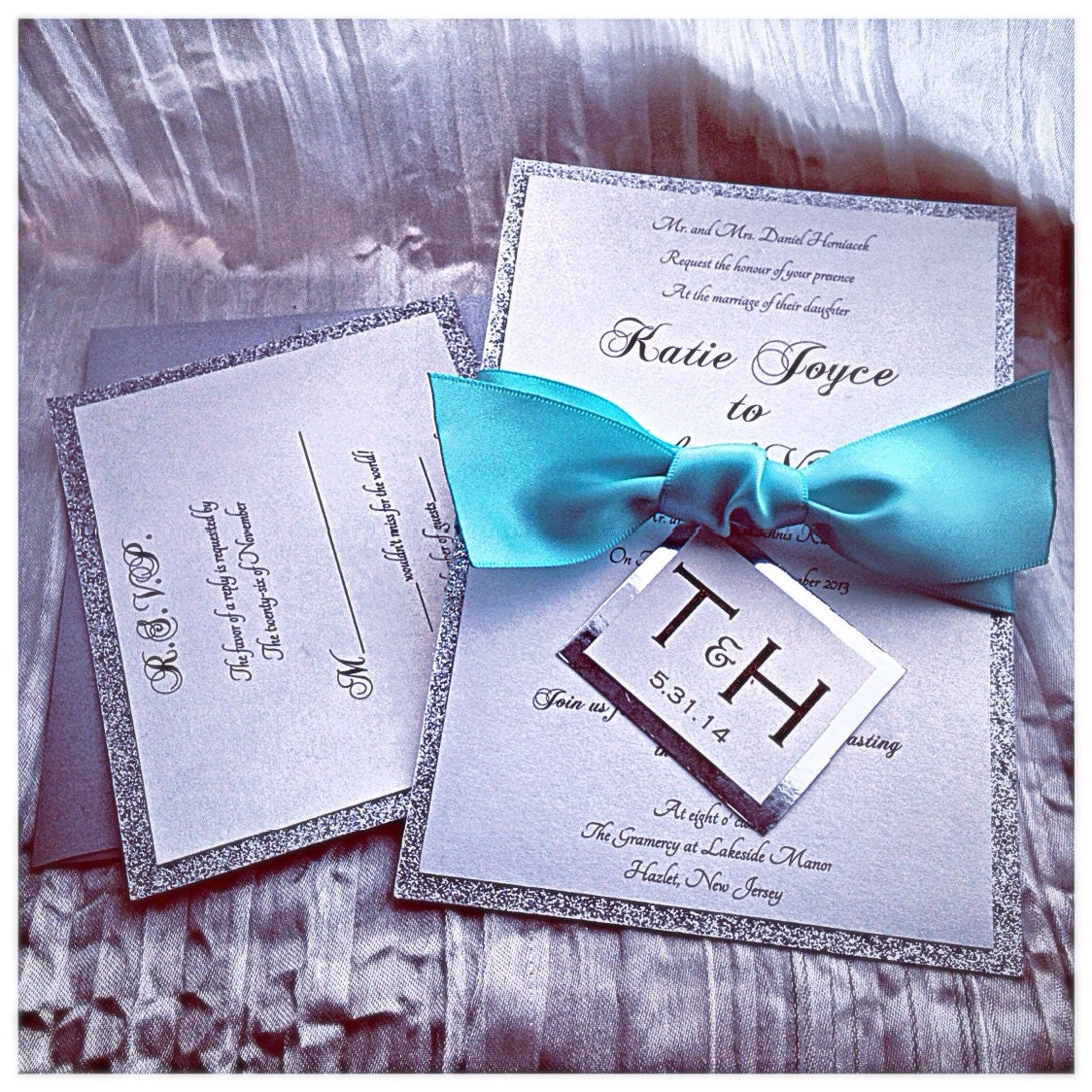 Silver Wedding Invitations: Teal Wedding Invitations Silver Glitter Wedding Invitation