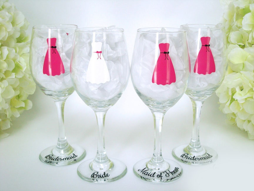 Printed Wedding Wine Glasses : Personalized Wedding Wine Glass Bridesmaid Wine Glasses
