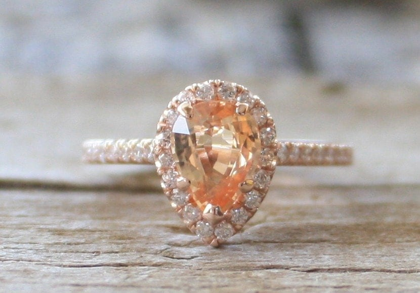 On Hold Gia Certified Pear Cut Peach Champagne Sapphire