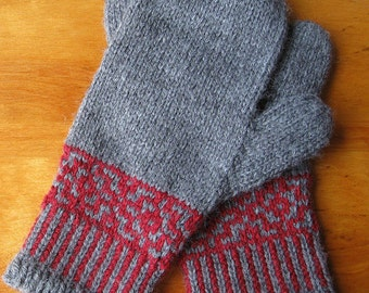 Gray and Red Mittens