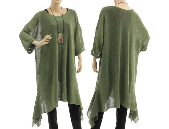 Large knitted sweater, tunic, overlay top - lagenlook for plus size women - oversized in sage - L, XL, XXL, US 12-24