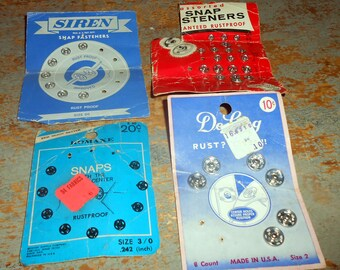 Vintage Sewing Supplies, Snaps, Fasteners, Mixed, Sewing Notions, Destash,  1940's - 1950's